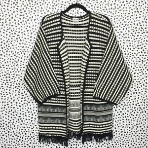 Chico's Black and White Heavy Knit Kimono